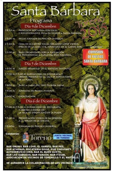 Programa de fiestas santa barbara 2015 Toreno