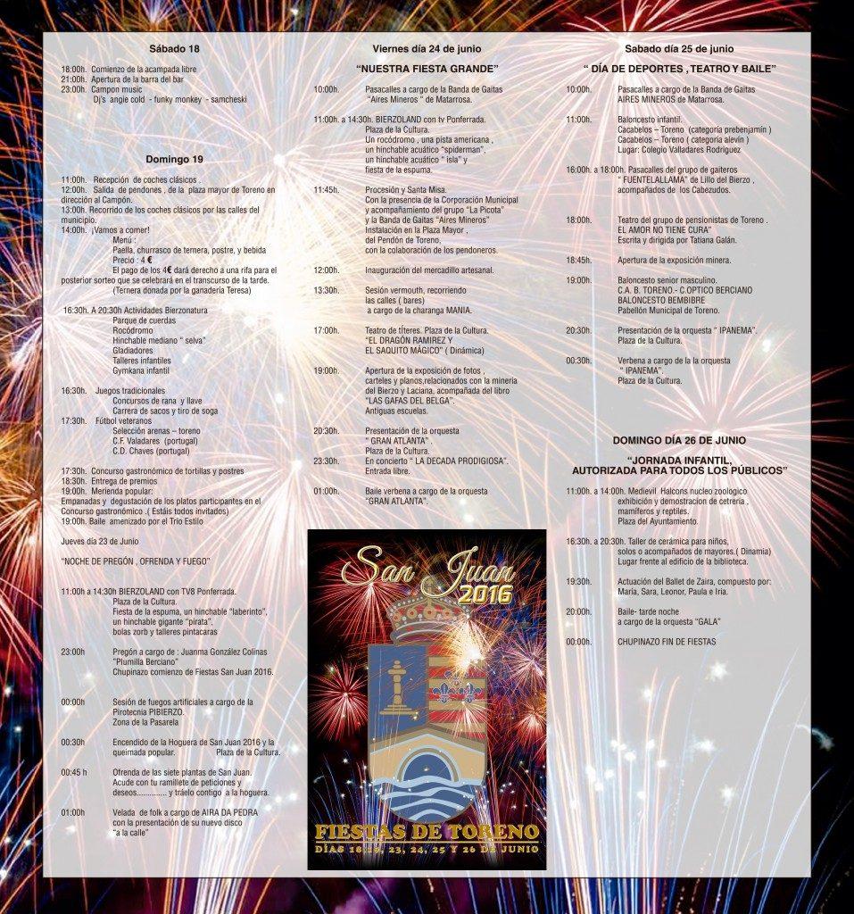 Programa Fiestas San Juan Toreno 2016