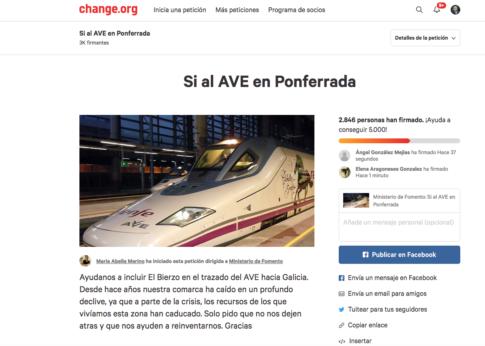 Petición AVE Ponferrada Change.org. Plumilla Berciano
