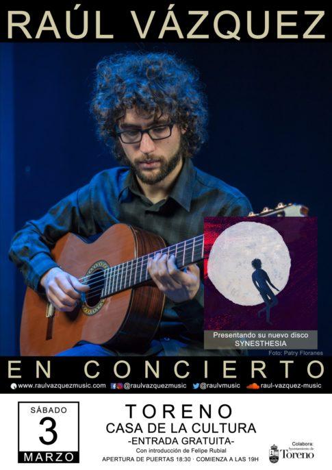 Cartel concierto Raúl Vázquez en Toreno. Plumilla Berciano