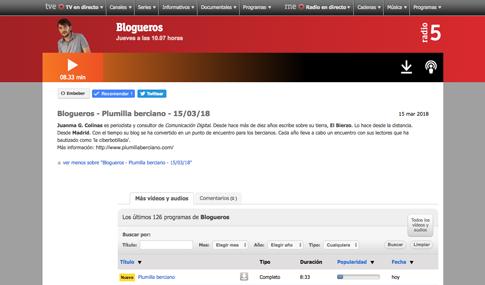 Blogueros Radio5 Molo Cebrián Juanma G. Colinas. Plumilla Berciano