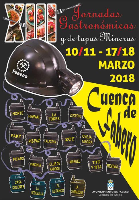 Cartel Jornadas Gastronómicas y Tapas Mineras Fabero 2018. Plumilla Berciano